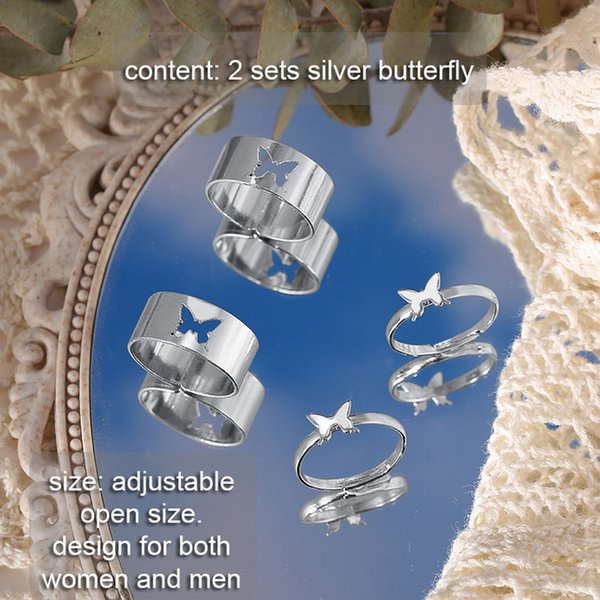 Cheap Rings IF ME 2 Paired Butterfly Couple Adjustable Opening Ring Set for Women Men Unisex Gold Silver Color Metal Rings Trendy Jewelry