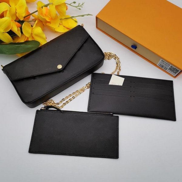 top popular Top 3pcs set Women Classic Luxury designer handbag Pochette Felicie Bag Genuine Leather Handbags Shoulder handbag Clutch Tote Messenger Shopping Purse with box 2021