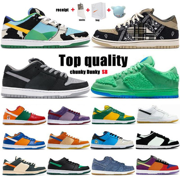 top popular 2021 Dunk SB Travis Scotts Running Shoes Red Green White Brand Black Parachute Beige Men Women Skate Sports Shoes Size 36-46 With Half 2021