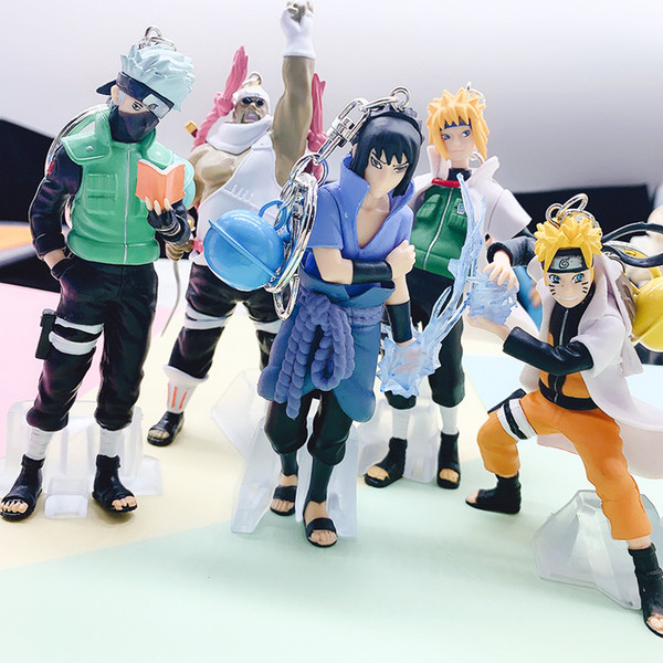 best selling 8cm 5pcs set Anime Naruto Figure Toy Sasuke Kakashi Sakura Gaara Itachi Obito Madara Killer Bee Mini Model Doll for Children L0226