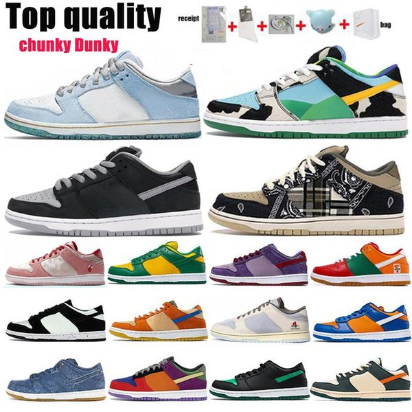 best selling SB Dunks Running Shoes 2021 Arrival Top Quality Send Box And Gift Mens Womens Kentucky Travis Scotts Red Green White Brand FashionTrainers Size 36-47 With Half