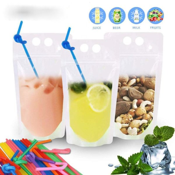 100Pcs Clear Drink Pouches Resealable Zipper Heavy Duty Drink Bag Hand-held Stand-up BPA Free Smoothie Pouches with Straw FY4061