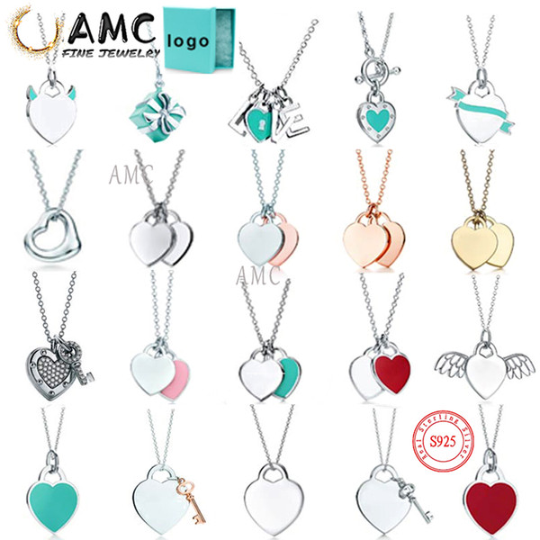 top popular AMC tiff necklace 925 silver pendant necklace female jewelry exquisite craftsmanship official logo classic blue heart necklace 2021