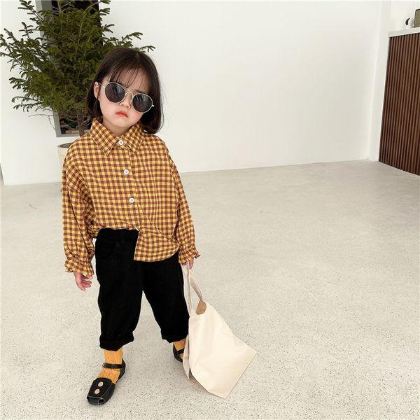 best selling Newest INS Korean Fashions Kids Girls Blouses Shirts Plaid Long Sleeve Spring Princess Girls Children Tops Tshirts