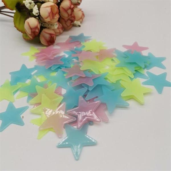 best selling PVC Fluorescent Star Sticker Confetti 3CM Luminous Wall 100pcs Paper Decorative Painting