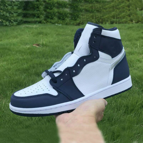 top popular 1 High OG CO.JP Midnight Navy shoe Metallic Silver White Men Basketball Shoes Sports Sneakers size 36-45 2021