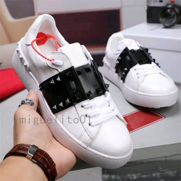 best selling 2021 Stud Spikes Black Mens Womens Chaussures Shoe Beautiful Platform Casual Scarpes Shoes Leather Solid Colors Dress Shoe