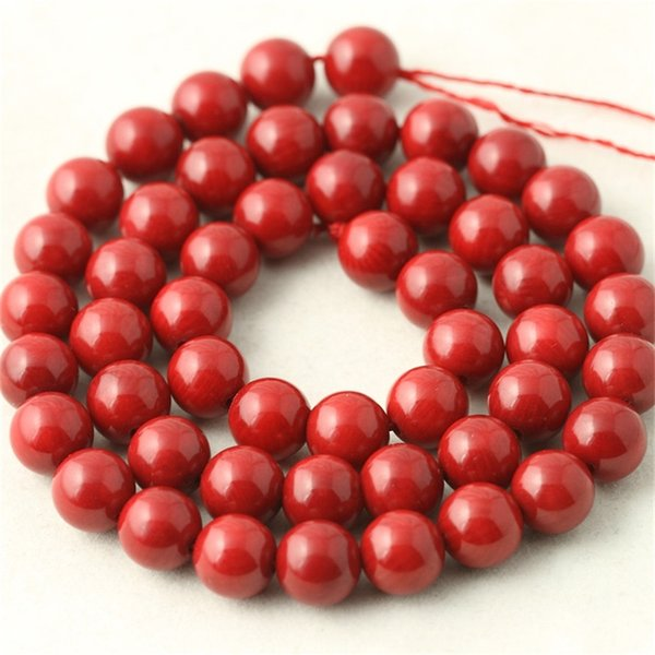 best selling 1Strand lot Round Red Coral Beads Natural Stone Fashion Jewelry Beads for Jewelry Making Diy Bracelet Necklace Loose Beads 112 Q2