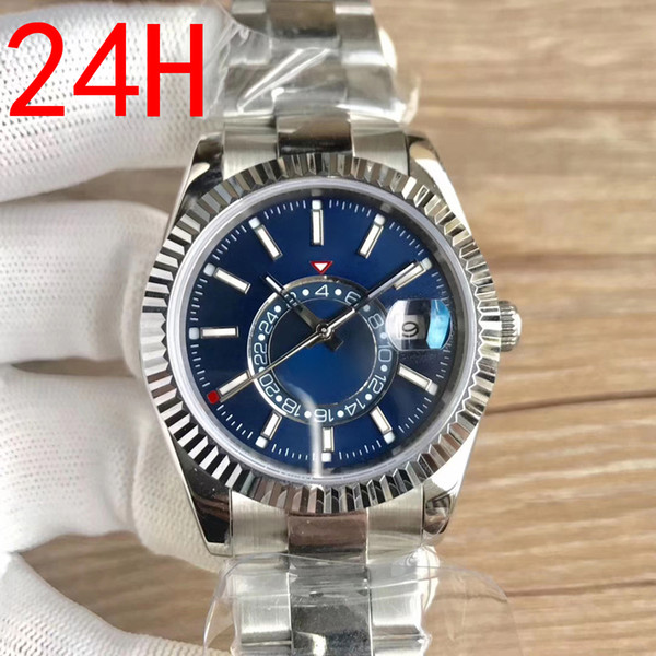 top popular Mens Sky Dweller Automatic Calendar Watch Sapphire High Quality 24H Function Sky Watch 316L Stainless Steel Luminous Fashion Mens Watch 2021