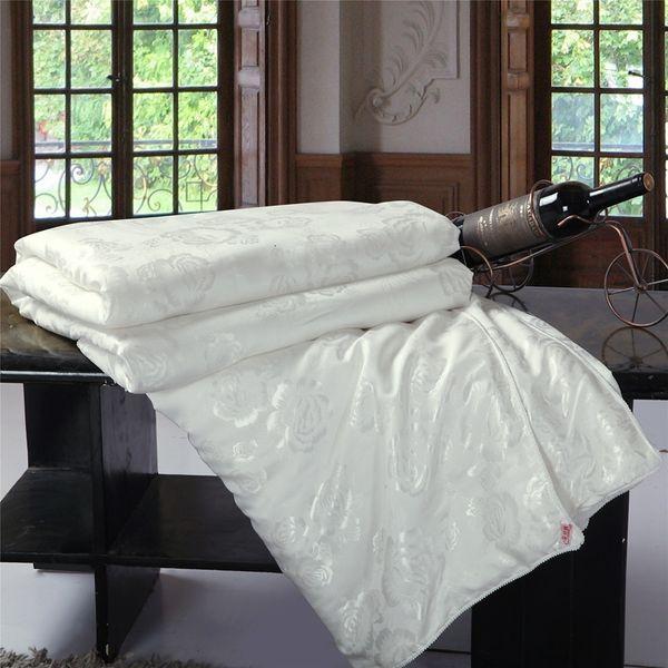 top popular 2021 New Summer winter Silk Quilt silk Comforter King Twin Queen Size Down Blanket Handmade White pink Silk-filled Bed Ucyb 2021