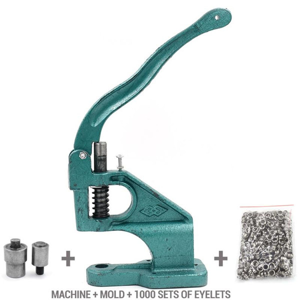top popular 1000 sets eyelets + Machine +molds Rivets Metal hole Eyelet tool Buttons DIY Tablecloth hole Shower curtain 2021