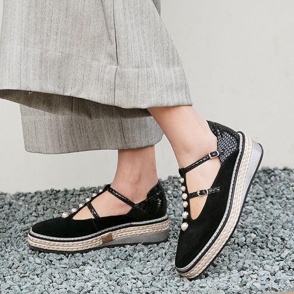 Womens genuine suede leather t-strap flats brand designer beading female platform flats leisure espadrilles spring new shoesDress Shoes