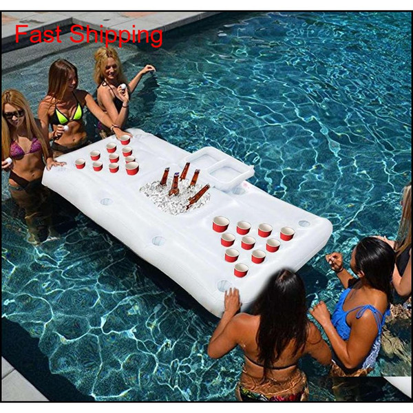 best selling Pool Party Games Raft Lounger Inflatable Floating Pool Adults Rafts Swimming Pool Lounger Beer Pong Table (doe qylrTn sports2010