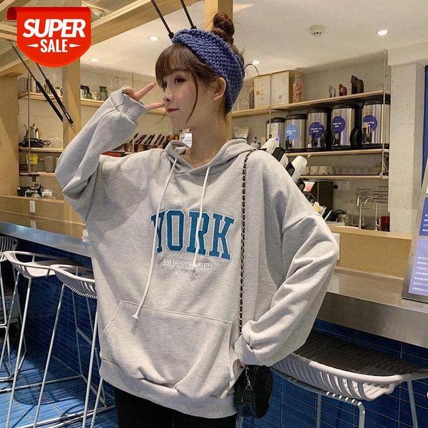top popular Oversize Women Sweatshirt Harajuku Casual Letter Print Long Sleeve Hooded Pullover Tops hoodies korean Style #Lz5G 2021