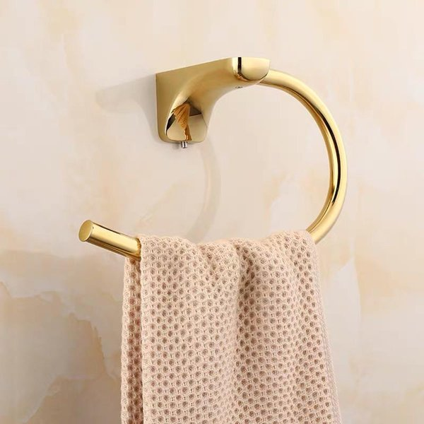 top popular Golden semi-circle towel rings Stainless steel round shower room towel rack bathroom accesssories 2021