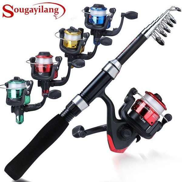 top popular Rod Reel Combo Sougayilang Spinning Fishing 1.6m 7 Sections And 3BB 5.2:1 High Speed Kit Pesca 2021