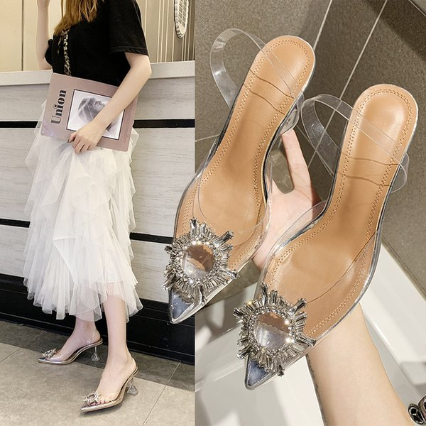 Sexy PVC High Heels Sandals Shoes Woman Silver Rhinestone Wedding Shoes 7cm High Heels Party Shoes Summer Height Heels Sandals