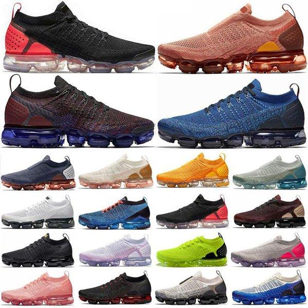 top popular New Mens Shoes Knit 2.0 3.0 Triple Black Olympic Laser Orange MOC University Gold Chrome cushion Men Women Trainers Sneakers shoes 2021