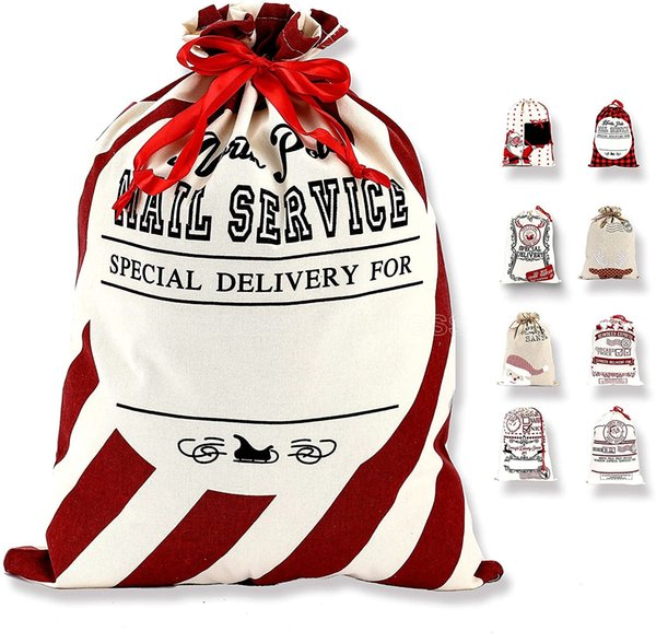 top popular DHL hot Christmas Santa Sack Large Christmas Canvas Gift Bag with Drawstring Reusable Personalized Best Giftfor Xmas Package Storage CS10 2021