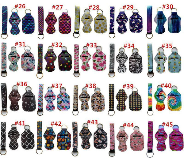 top popular 3 Pieces Travel Keychain Holders Kits Including 30ml Hand Sanitizer Holder Keychain Wristlet Keychains Lanyard Chapstick Holder Top Seller 2021
