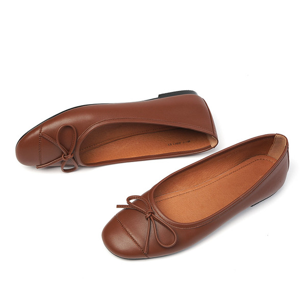Womens genuine leather slip-on ballet flats leisure soft comfortable bow tie korean style casual ballerinas single-shoes womenDress Shoes
