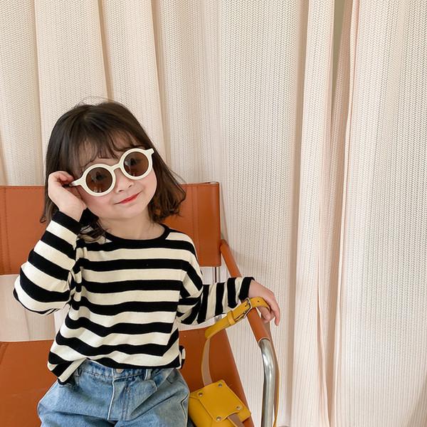 top popular New INS Little girls Newest Girls Stripes Long Sleeve Cute Girls Korean Design T Shirt Kids Long Sleeve Tops 2021