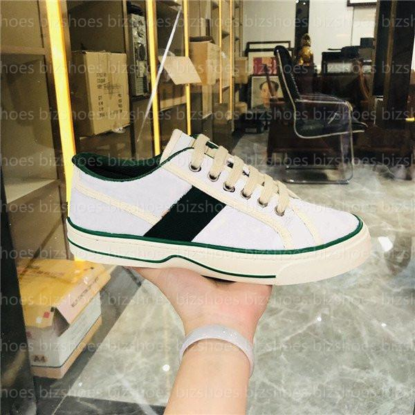 top popular Tennis 1977 canvas casual shoe Italy Green and red Web strip jacquard fabric Luxurys Designers Shoes low-top Beige ebony embossed sneaker 2021