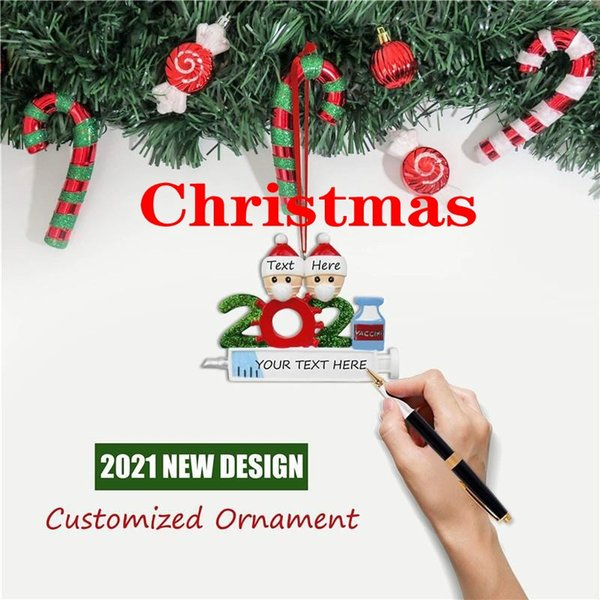 best selling 2021 Tiktok Quarantine Personalized Christmas Decorations DIY Hanging Ornaments Cute Resin Snowman Pendant Social Distancing Party DHL Fast Free Delivery