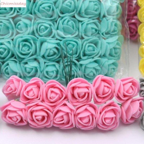 144pcs Pe No Lace Rose Foam Flowers Mini Bouquet &teddy Bear Rose Flower Diy Gifts Wreath Artificial Flower Foams Fake Flower