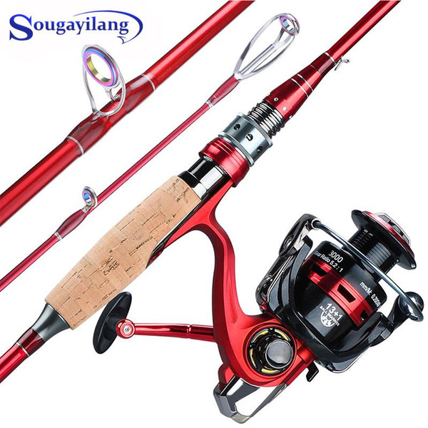 best selling Rod Reel Combo Sougayilang 2.1-2.4m Fishing And 4 Section Carbon Fiber Pole With 13+1BB Spinning For Travel
