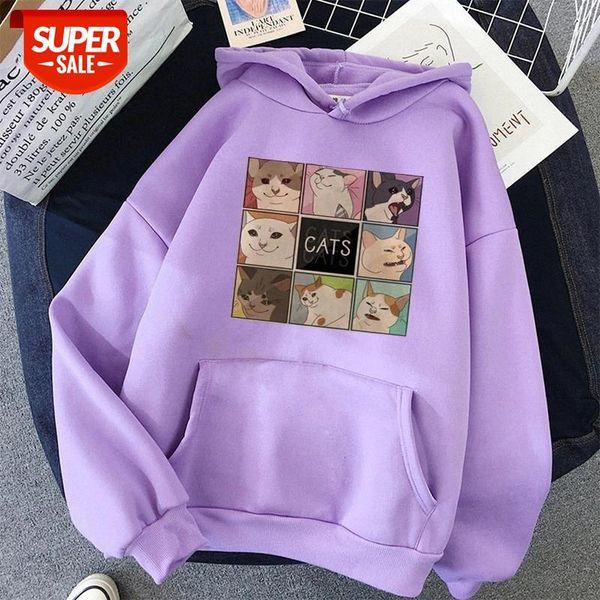best selling cut cat Print oversized Sweatshirt Hoody Itself korean style Women's Hoodies Kawaii Hoodies for Women top clothes harajuku #ip6T