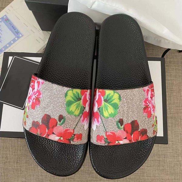 best selling Classics sandals Designer Slippers slides Floral brocade Gear bottoms Flip Flops men women striped Beach causal slipper home011 01