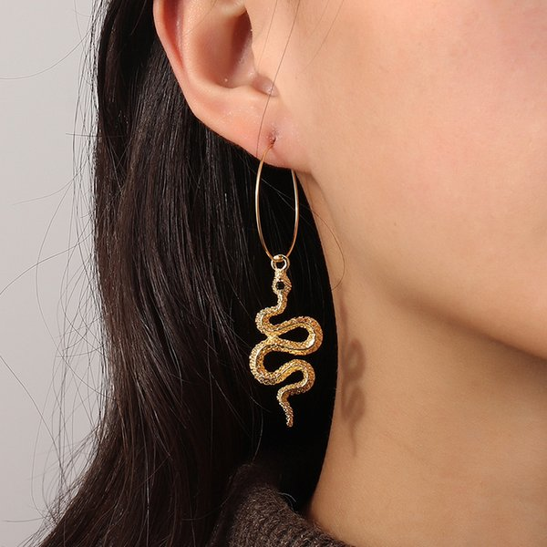 Ez3363 fashion accessories simple wind circle trend personalized Snake Earrings Follow the feeling and choose what you like at first sight.