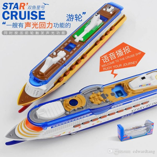 top popular CB Diecast Luxury Cruise Ship with Light, Sound, Pull Back, 1:1200 High Simulation Ornament,for Party Kid Christmas Birthday Gift,Collecting 2021