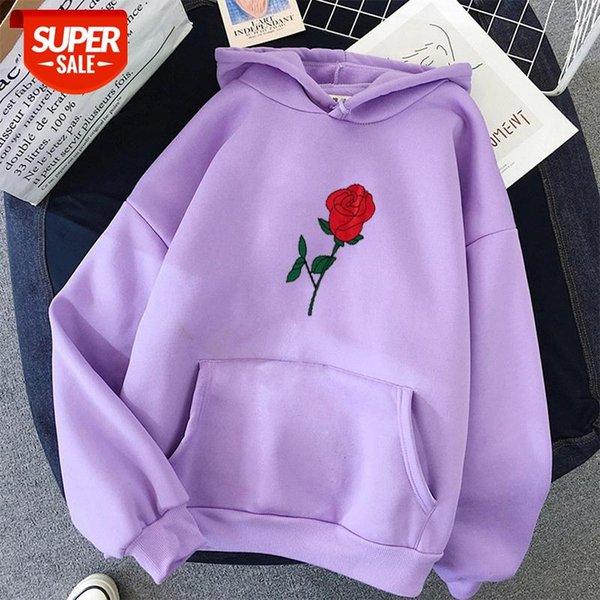 top popular Red rose print Women Hoodies oversized Printed Long Sleeve Hooded Womens clothes tops harajuku Korean Style Ladies Sweatshirts #Ky6k 2021