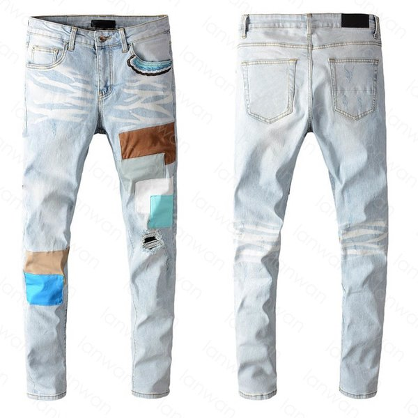 best selling Mens Jeans Classic Hip Hop Pants Stylist Jeans Distressed Ripped Biker Jean Slim Fit Motorcycle Denim Jeans CLDF