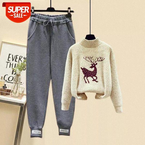 top popular loose turtleneck sweater 2 piece set for women sets Autumn winter new Korean style casual pants two-piece fashion suit #qr4h 2021