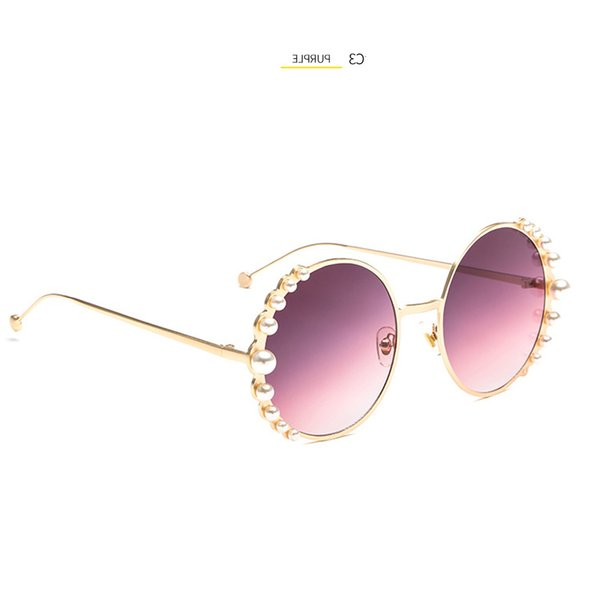 best selling New Vintage Punk Style Steam Sunglasses Women Round Frame Pearls Wild Trend Designer Sun Men Metal Glasses High Quality