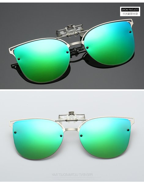 best selling Clip-on Luxury Polarized Clip on Sunglasses Men Driving Night Vision Lens Cat Eye Sun Ladies Glasses