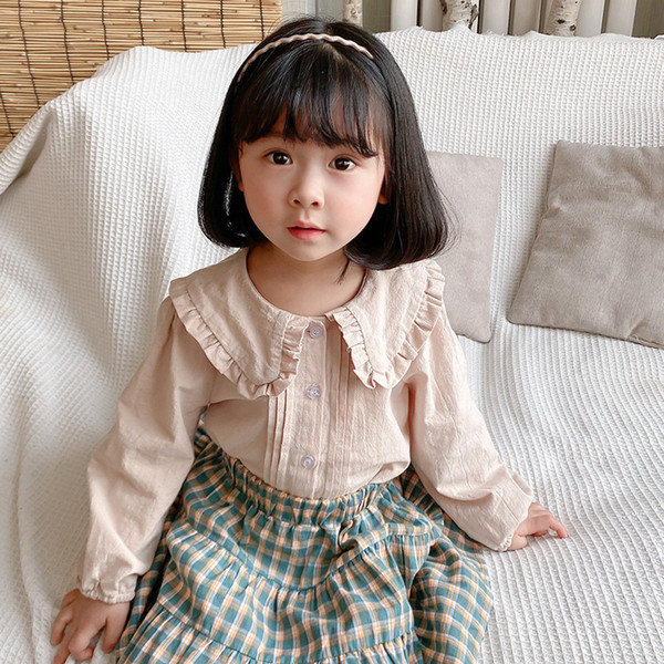 best selling DUDU New INS Korean Quality Kids Girls Blouses Shirts Organic Cotton Turn-down Princess Girls Children Tops Tshirts