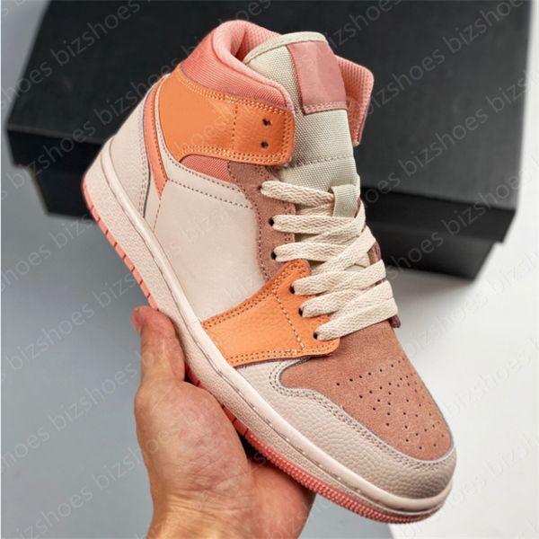 top popular 1 Mid Apricot Orange Women sport shoe Orange Apricot shoe man jumpman 1 Casual Skate shoes Outdoor trainer sneaker 2021