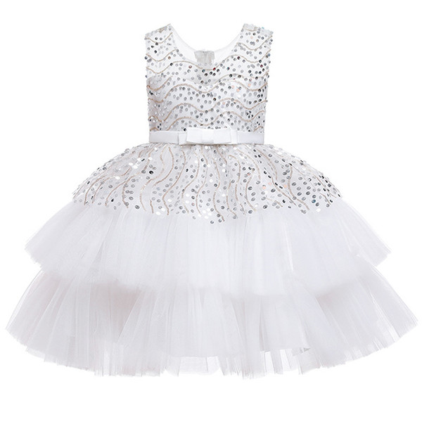 Flower girl birthday party dance Sequin wedding dress puffy white party dress girl formal Eucharist party Sequin dress