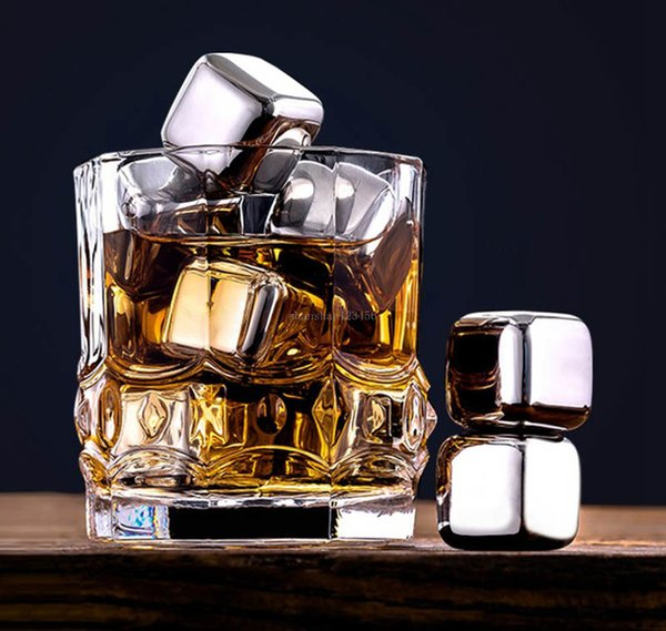 top popular Food grade Whiskey Chilling Stones Cubes Coolers stainless steel Ice wine stone home party Barware Cooler drop ship 2021