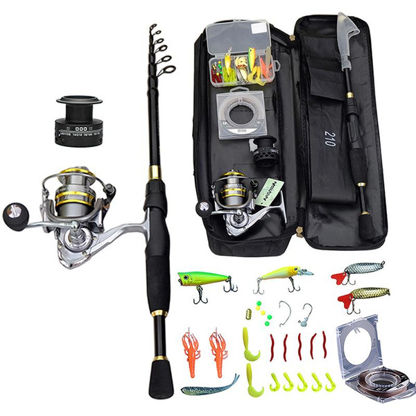 best selling 2021 Fishing Rod Combo And Reel Full Kit Spinning Fishing Reel Gear Pole Set 100M Line Lures Hooks Jig Head