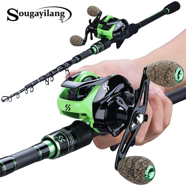 best selling Sougayilang 1.8M 2.1M Casting Fishing Rods with 12+1BB 7.2:1 Baitcasting Reel Combo for Travel Freshwater Saltwater Fishing