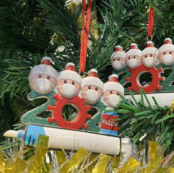 top popular 2021 Christmas Decoration Quarantine Ornaments Family of 1-9 Heads Syringe DIY Tree Pendant Accessories with Rope Resin DHL 2021