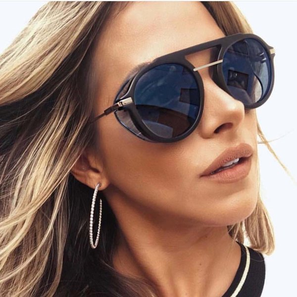 best selling Feishini 2019 New Punk Retro Gradient Clear Sunglasses Women Round Fashion Brown Driving Uv Protector Glasses Men Shades 400uv