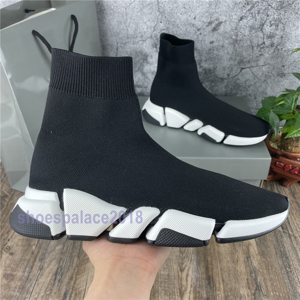 best selling 2020 Sock Shoe Speed 2.0 Knitted Trainers Casual Sneakers Soft High Cut Sock Race Fashion Black Shoes Men And Women Shoes 36-45