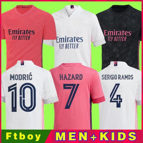 top popular REAL MADRID jerseys 20 21 soccer football shirt HAZARD SERGIO RAMOS BENZEMA ASENSIO camiseta men + kids kit 2020 2021 fourth 4th HUMANRACE 2021