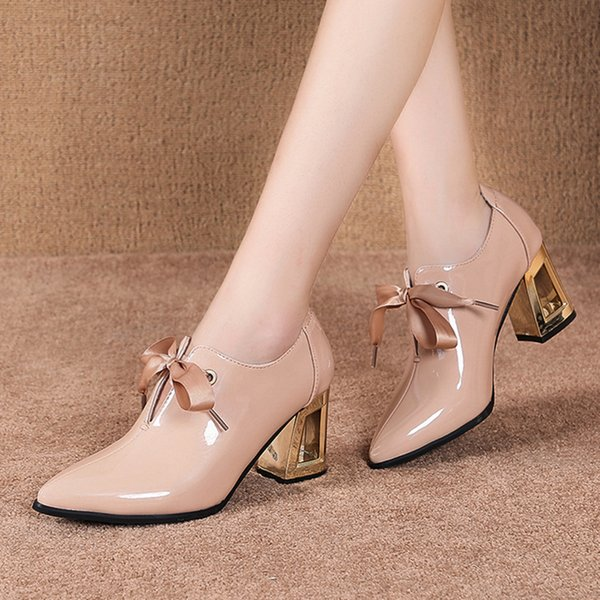 2021 Spring Women Shoes Pointed Toe Lace Up High Heels Pointed Toe Dres Shoes Patent Leather Bare boots Black botas mujer 7969NDress Shoes